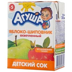 Сок осветленный Агуша Яблоко-шиповник (Tetra Pak), с 5 месяцев