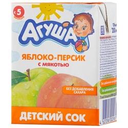 Сок Агуша Яблоко-персик с мякотью, с 5 месяцев
