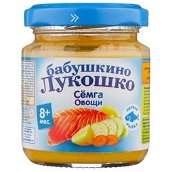Пюре Бабушкино Лукошко семга-овощи (с 8 месяцев) 100 г, 1 шт