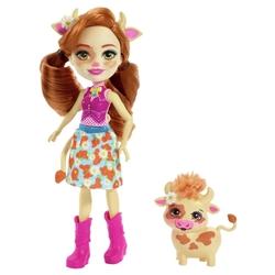 Кукла Enchantimals Кейли Коровка с питомцем, 15 см, FXM77