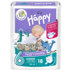 Bella Baby happy подгузники adventure 6 (16+ кг) 18 шт.