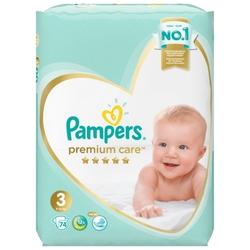 Pampers подгузники Premium Care 3 (6-10 кг) 74 шт.